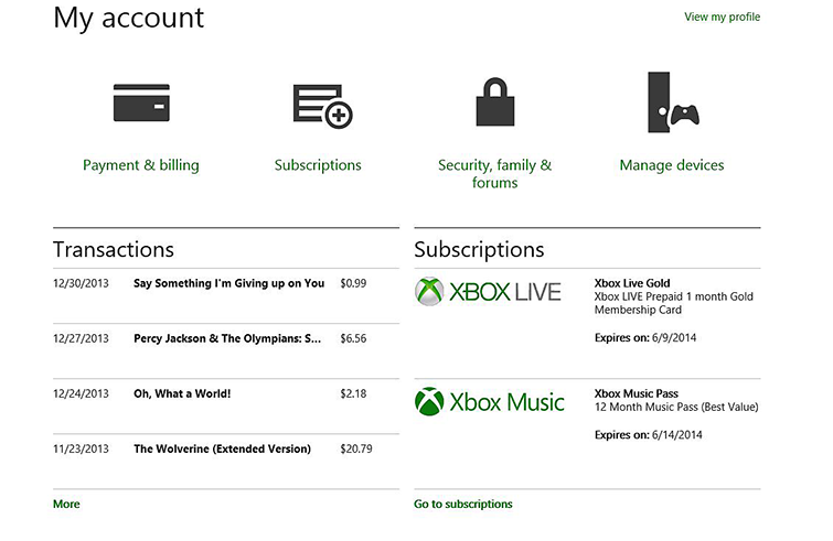 xbox billing history xbox download history xbox live charges