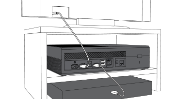 An illustration shows an HDMI cable plugged into a TV and an Xbox One console, and another HDMI cable plugged into the Xbox One and a set-top box.