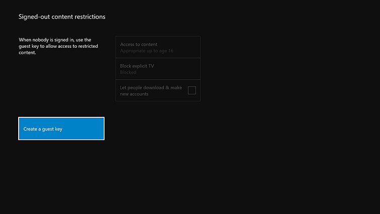 The 'Signed-out content restrictions' screen, with the Create a guest key' option highlighted