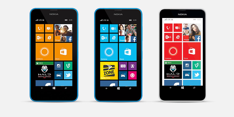 Case Design cases for virgin mobile phones : Three Lumia 635 phones with start screens