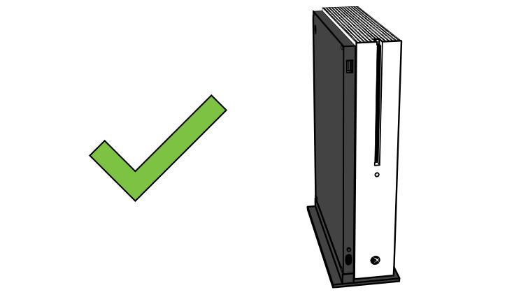 Illustration showing good placement for the Xbox One S with the stand.