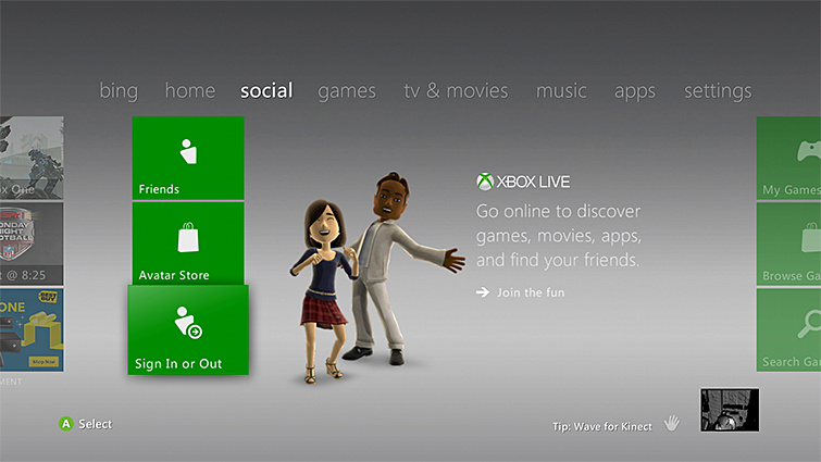 On the main Xbox 'social' screen, the 'Sign In or Out' tile is highlighted.