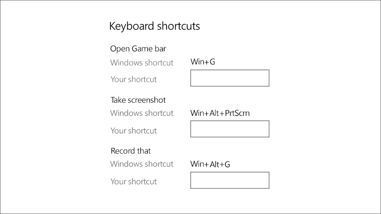The keyboard shortcuts screen shows Windows shortcuts and options to customize your own.