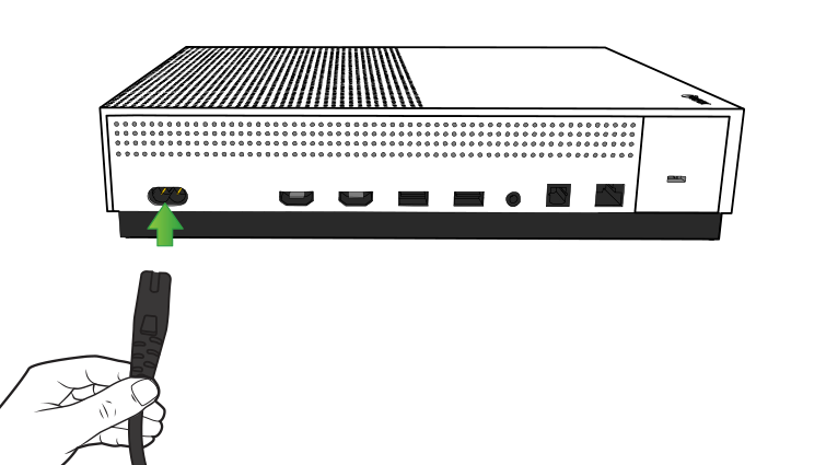 Illustration of the back of the Xbox One S console with the power cord being plugged in