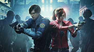 I due personaggi principali, un'ora di morti viventi in una tempestosa Raccoon City.
