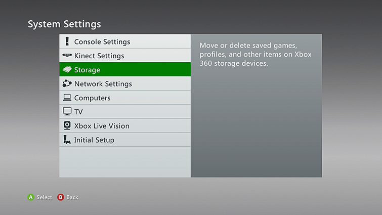 How to clear the cache on xbox 360 the storage category is highlighted on the system settings screen ccuart Images