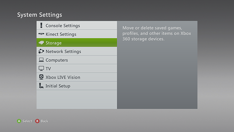The System Settings screen, with the Storage option highlighted