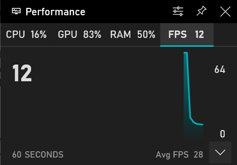Performance overlay in Xbox Game Bar