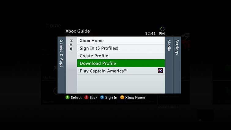 The Download Profile option is highlighted on the Home tab of the Xbox 360 Guide.