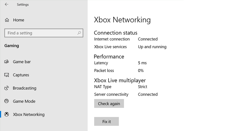 Xbox Networking settings showing Connection status, Performance, and Xbox Live multiplayer details, including NAT type.