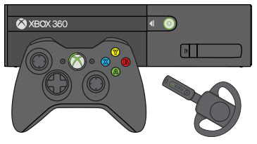 An Xbox 360 controller and a wireless headset in front of an Xbox 360 E console.
