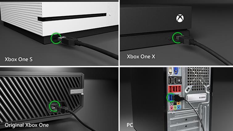 Çeşitli Xbox modellerinde ve bir bilgisayarın arkasındaki USB bağlantı noktasına takılan USB kablosu