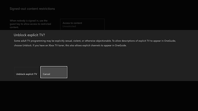 The 'Unblock explicit TV?' confirmation screen includes options to Unblock and Cancel, which is highlighted.