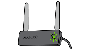 An Xbox 360 Wireless N Networking Adapter with a flashing green light on