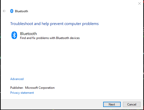 An image shows the Bluetooth troubleshooter screen in the Windows 10 settings.