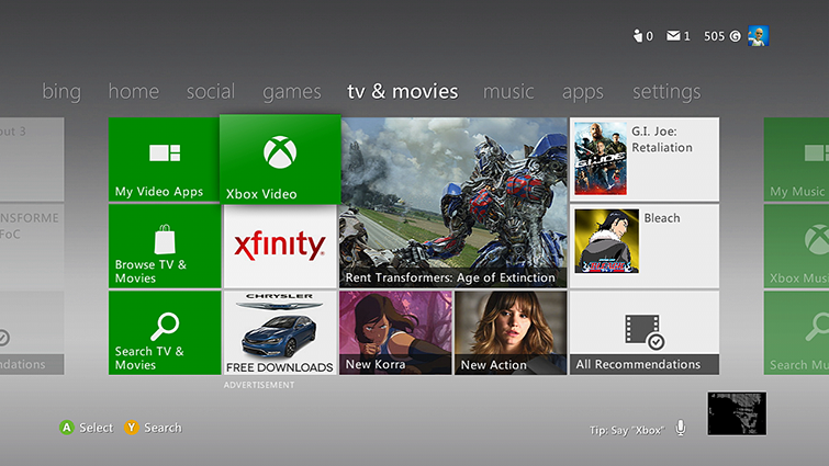 The Xbox 360 Dashboard, with the TV & Movies tab selected