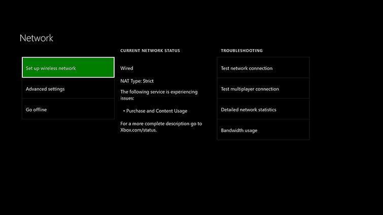 Network Settings on Xbox One