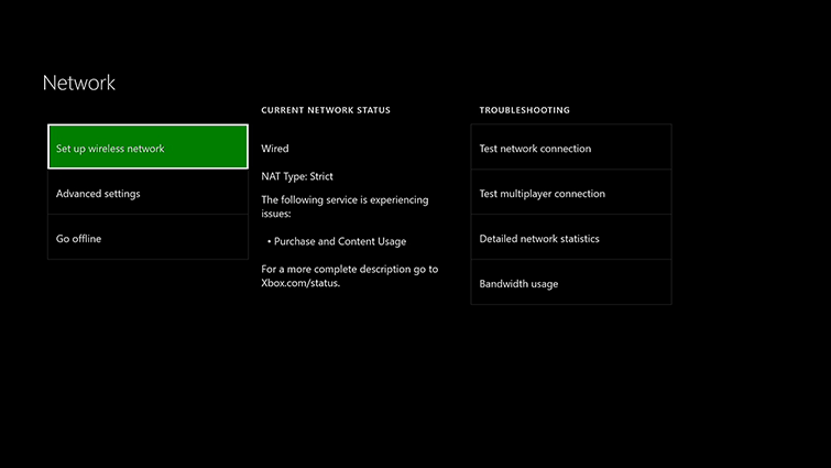 The Network settings screen shows options for