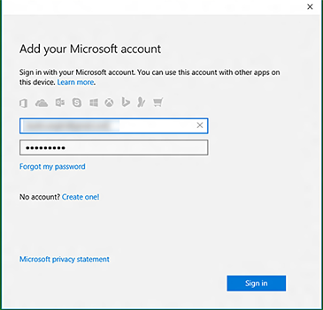 The 'Add your Microsoft account' screen in the Xbox app