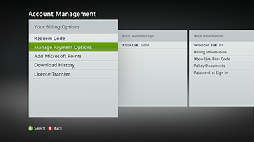 Manage Payment Options screen on Xbox 360 console.