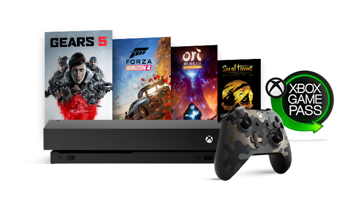 A lockup of an Xbox One X, Xbox games, special edition camo controller and Xbox Game Pass logo.