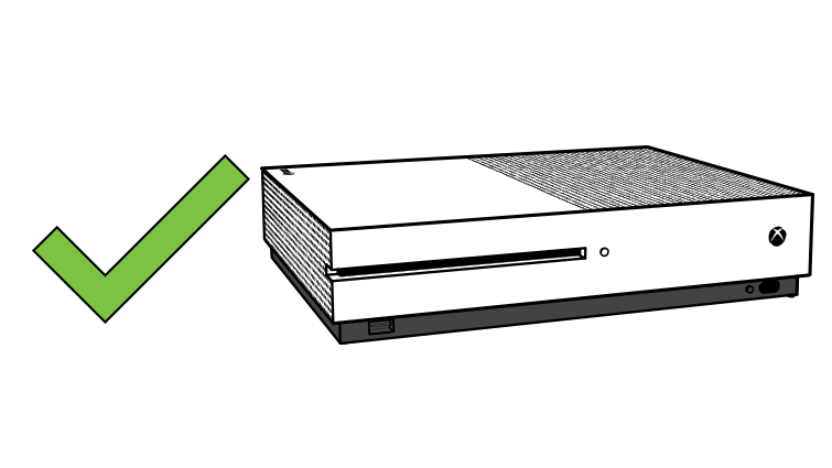 Illustration showing good placement for the Xbox One S without the stand.