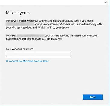 The 'Make it yours' screen in the Xbox app prompts you for your Windows password.