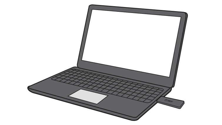 Drawing of a laptop computer with an Xbox Wireless Adapter for Windows plugged into a USB port on the side