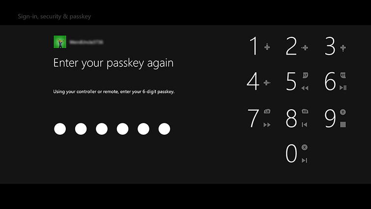 The passcode entry screen includes a number pad and the words 'Using your controller or remote, enter your 6-digit passkey.'