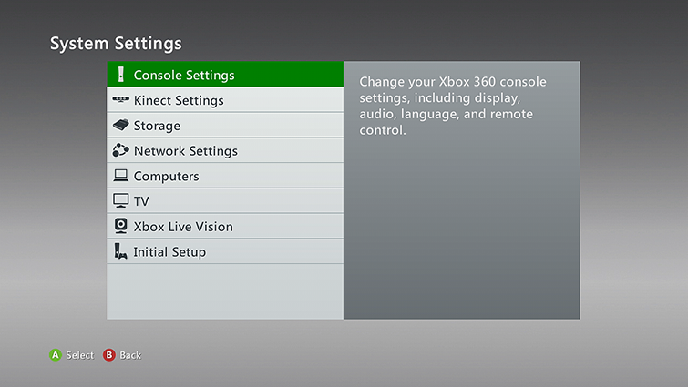The System Settings screen, with 'Console Settings' selected.