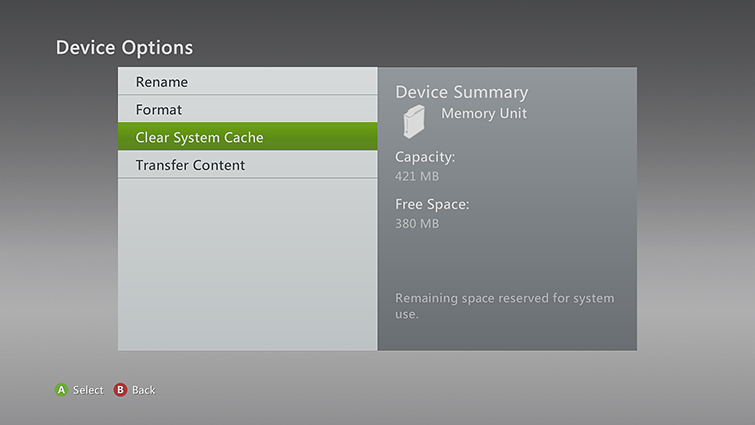 The 'Clear System Cache' option is highlighted on the Device Options screen.