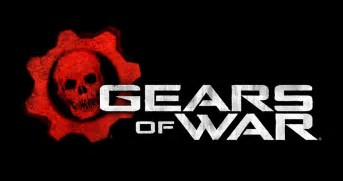 Gears of War logo, which has a red gear and skull in the middle.