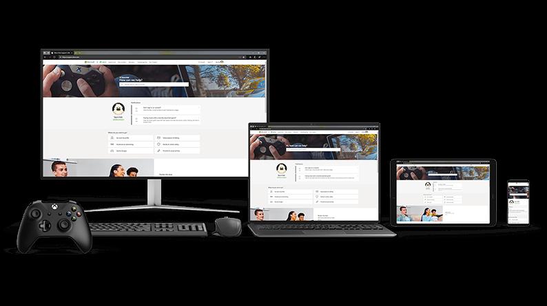 PC、ノート PC、タブレット、および携帯電話画面に表示された新しい Xbox サポート Web サイトの画像。