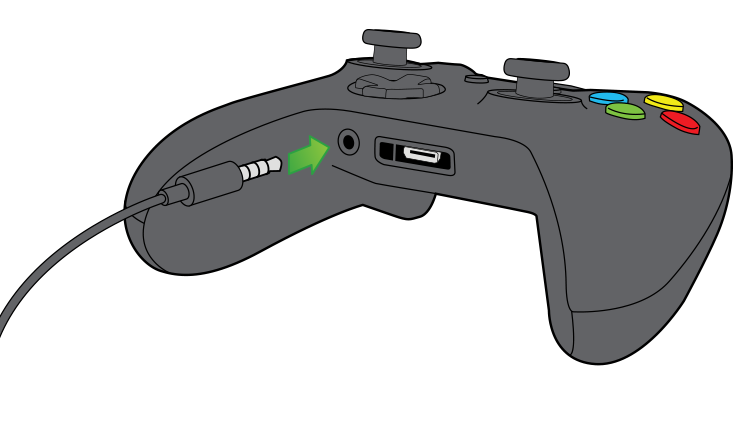 An illustration of a headset cable being plugged into the 3.5-mm port on the front edge of an Xbox One controller
