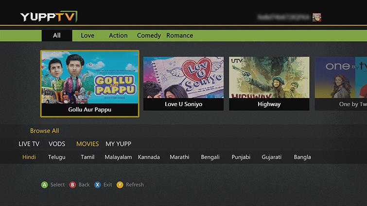 YuppTV App on Xbox 360