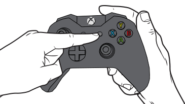 A finger reaches to press the Menu button on an Xbox One controller.