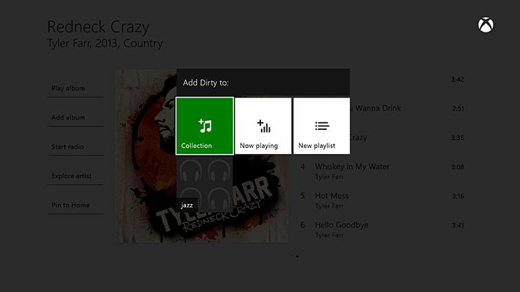 [Groove 音樂] 畫面會反白標示可用來新增歌曲至使用者收藏的選項,以及 [新增播放清單] 的選項。