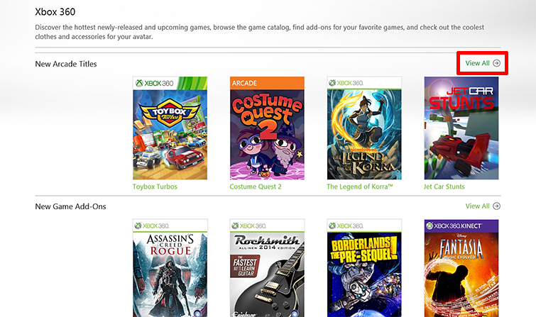 The 'View all' button is emphasised on the right side of a panel called 'New Arcade Titles' in the Xbox Games Store.