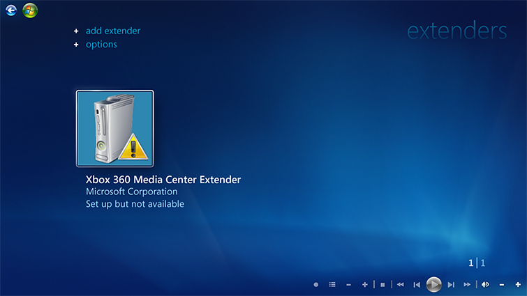 "Selecione ""Extensor do Xbox 360 Media Center""."
