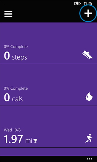 Tap add in the Microsoft Health app