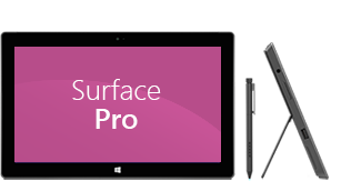 Front and side views of Surface Pro, plus pen
