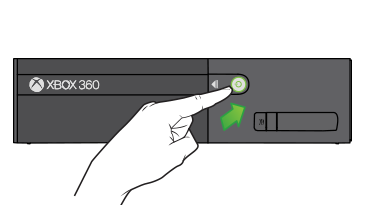 A pointing finger and an arrow indicate the power button on the Xbox 360 E console.