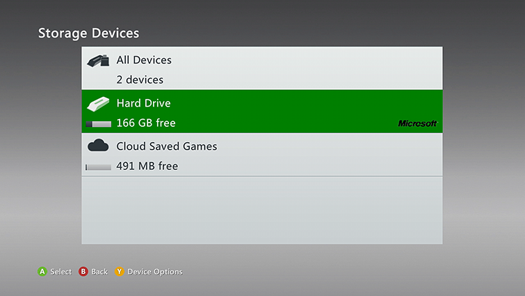 Image highlights one of the storage device options on the Storage Devices screen.