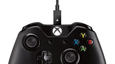 Connect a USB cable to use your Xbox One Wireless Controller without batteries