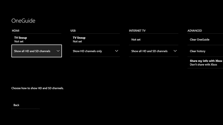 The settings screen for Xbox OneGuide, with the 'Show all HD and SD channels' option highlighted under HDMI
