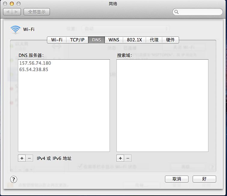 """Mac 计算机上的""""网络系统偏好设置""""屏幕,其中已选定""""DNS""""选项卡"""