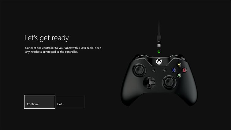 表示された [それでは準備を始めましょう] 画面。矢印は、USB ケーブルからコントローラーへの接続を指し示しています。[続行] ボタンが強調表示されています。