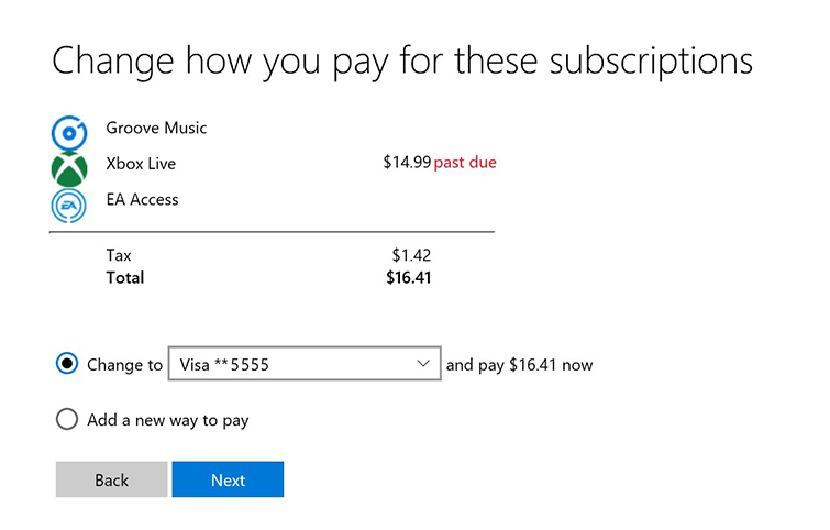 microsoft credit card charges