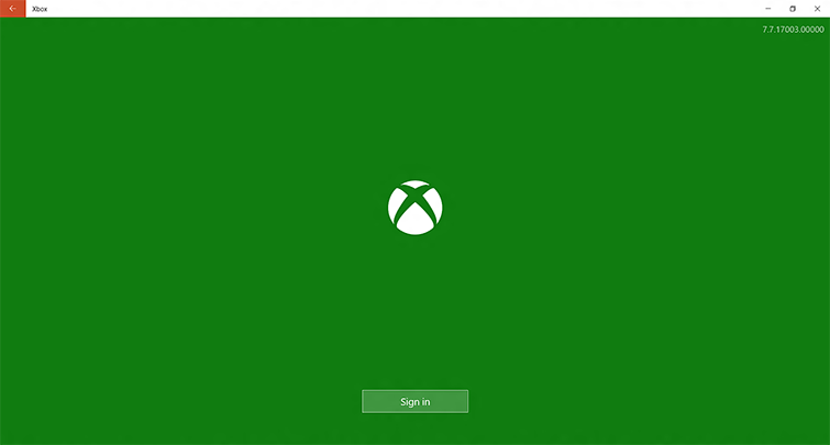 The sign-in screen for the Xbox app